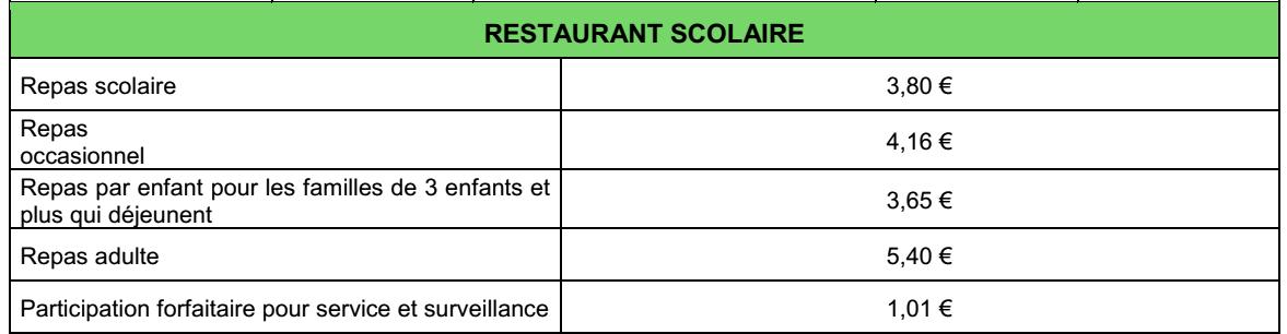 Tarifs du restaurant scolaire au 1er janvier 2019
