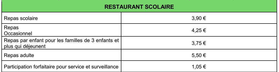 Tarifs du restaurant Scolaire au 1er janvier 2020