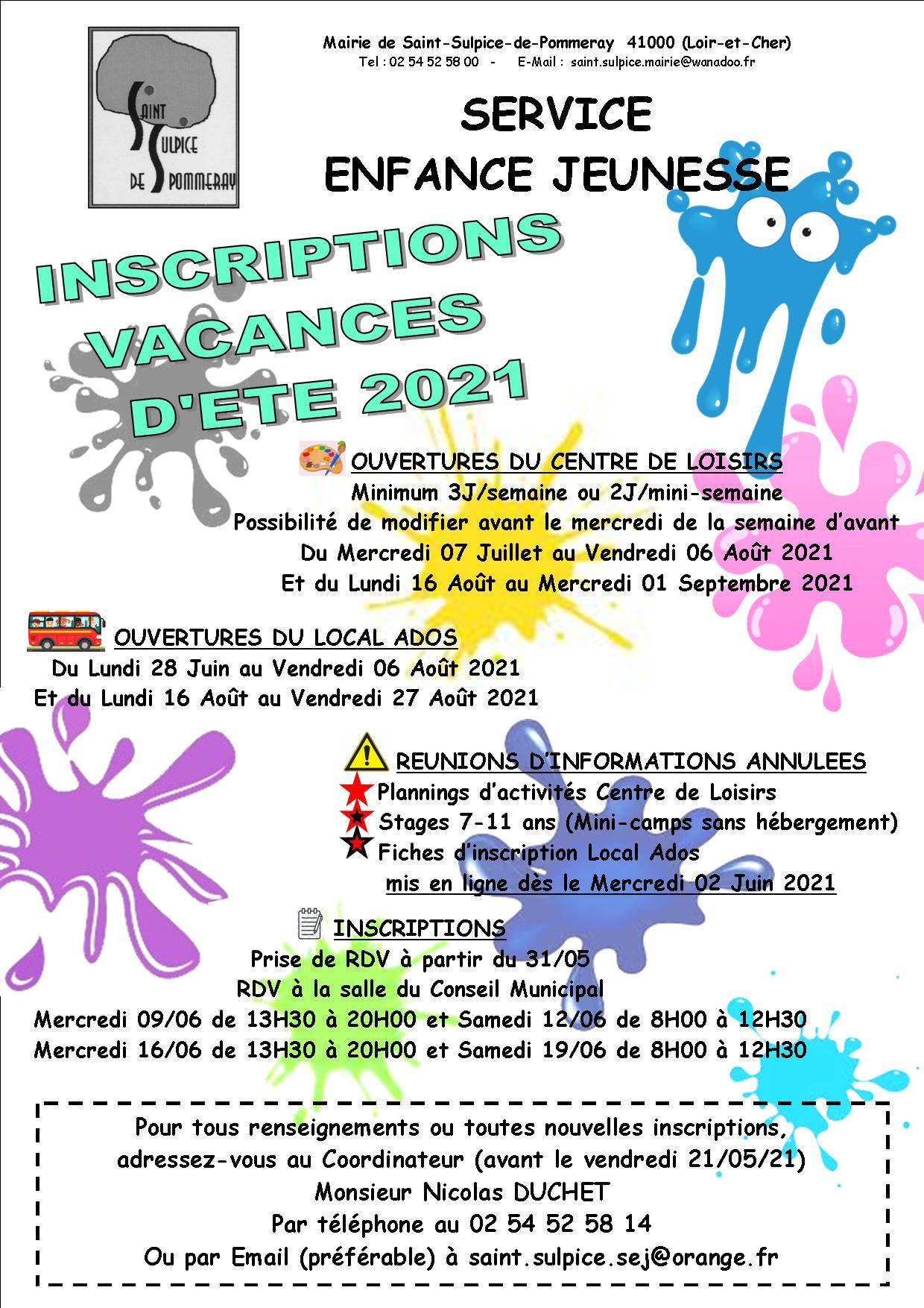 INSCRIPTIONS DES VACANCES D'ETE 2021
