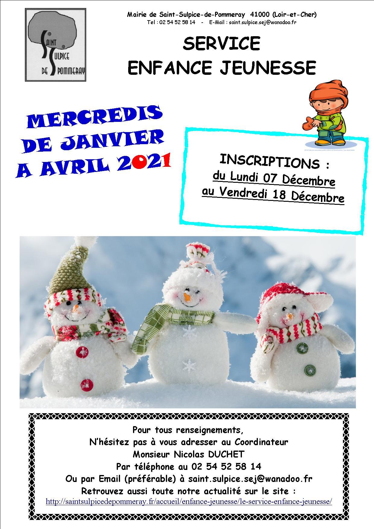 INSCRIPTIONS DES MERCREDIS 2021