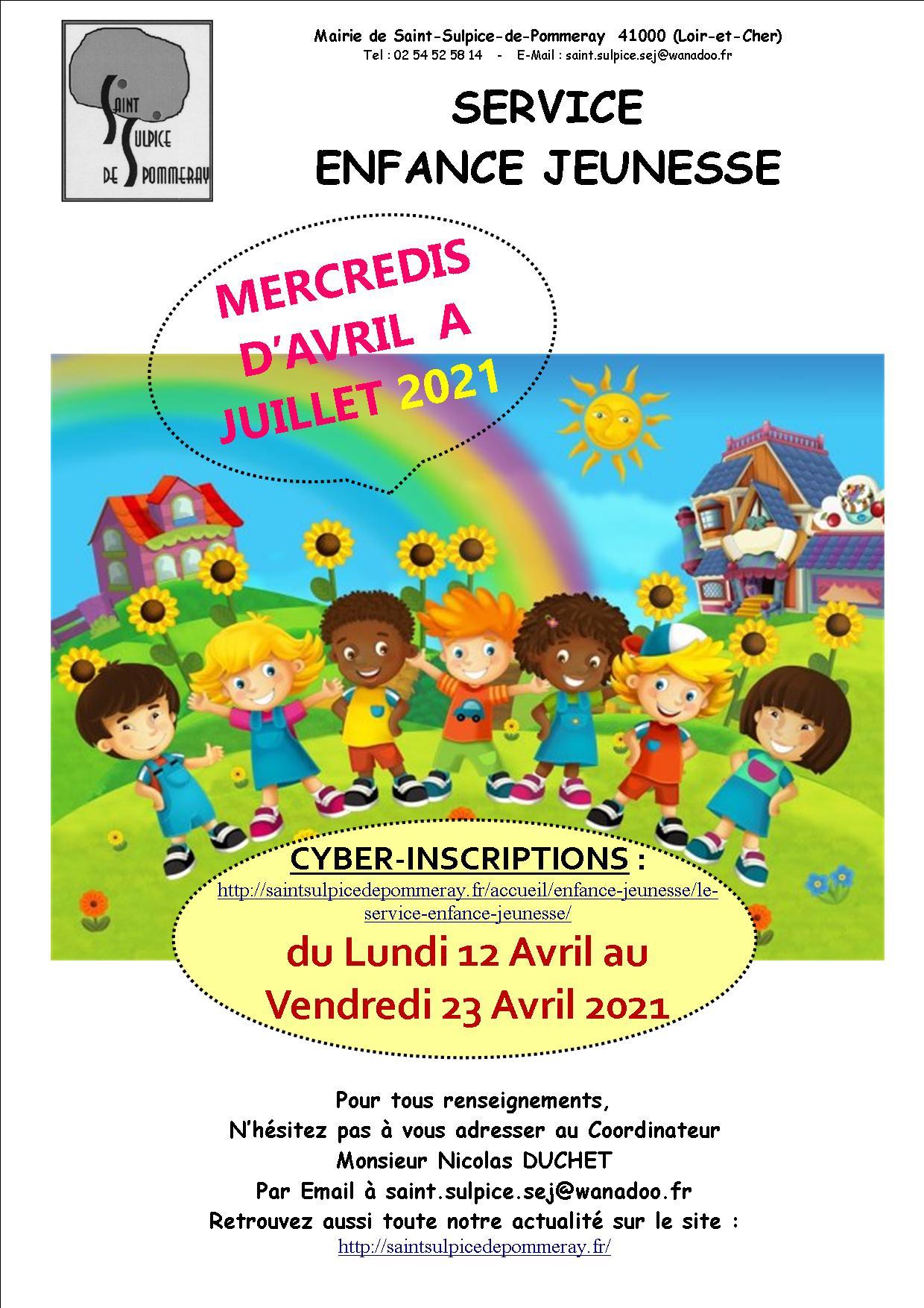 INSCRIPTIONS DES MERCREDIS D'AVRIL A JUILLET 2021