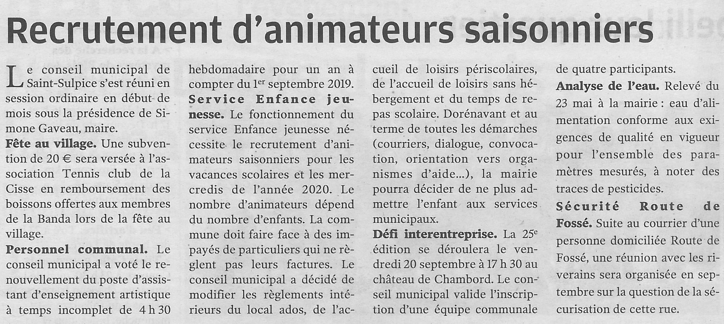 Article NR du 13/07/2019