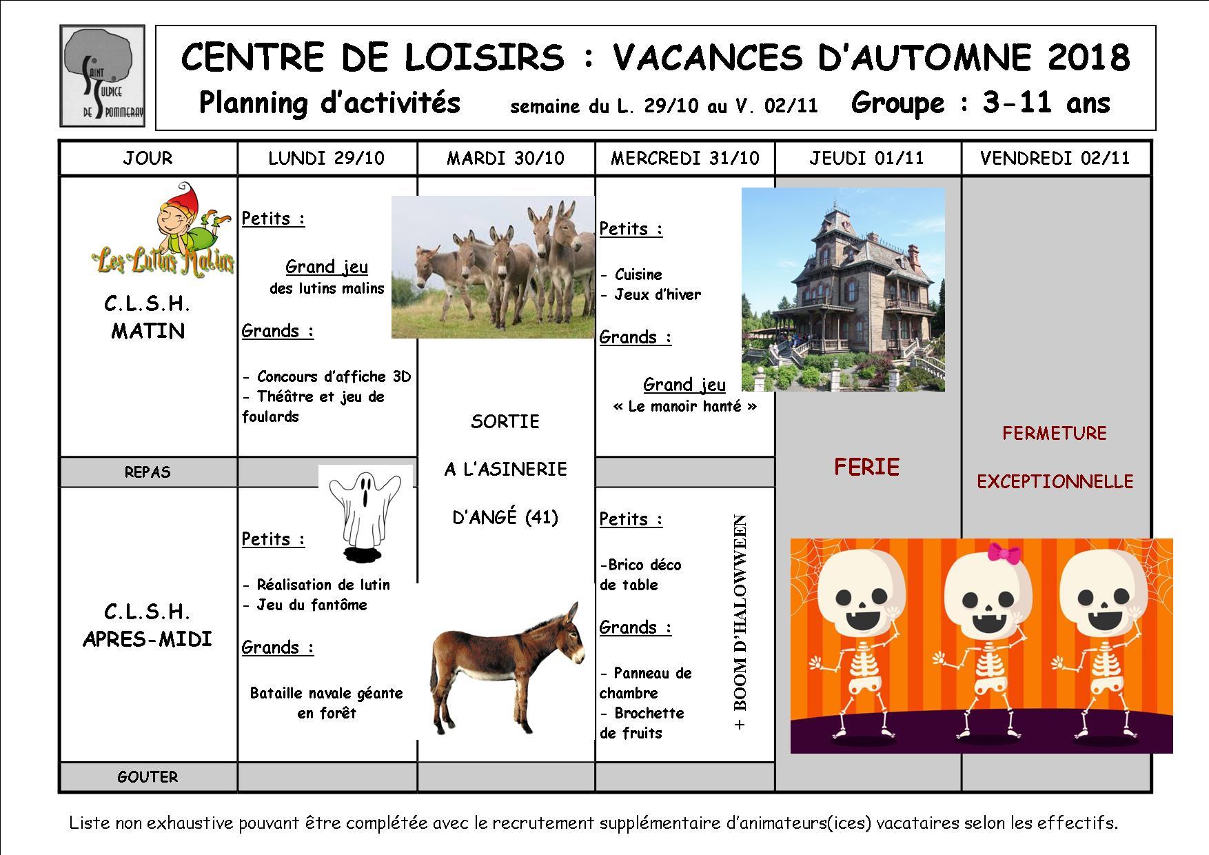Vacances d'automne 2018, semaine 2