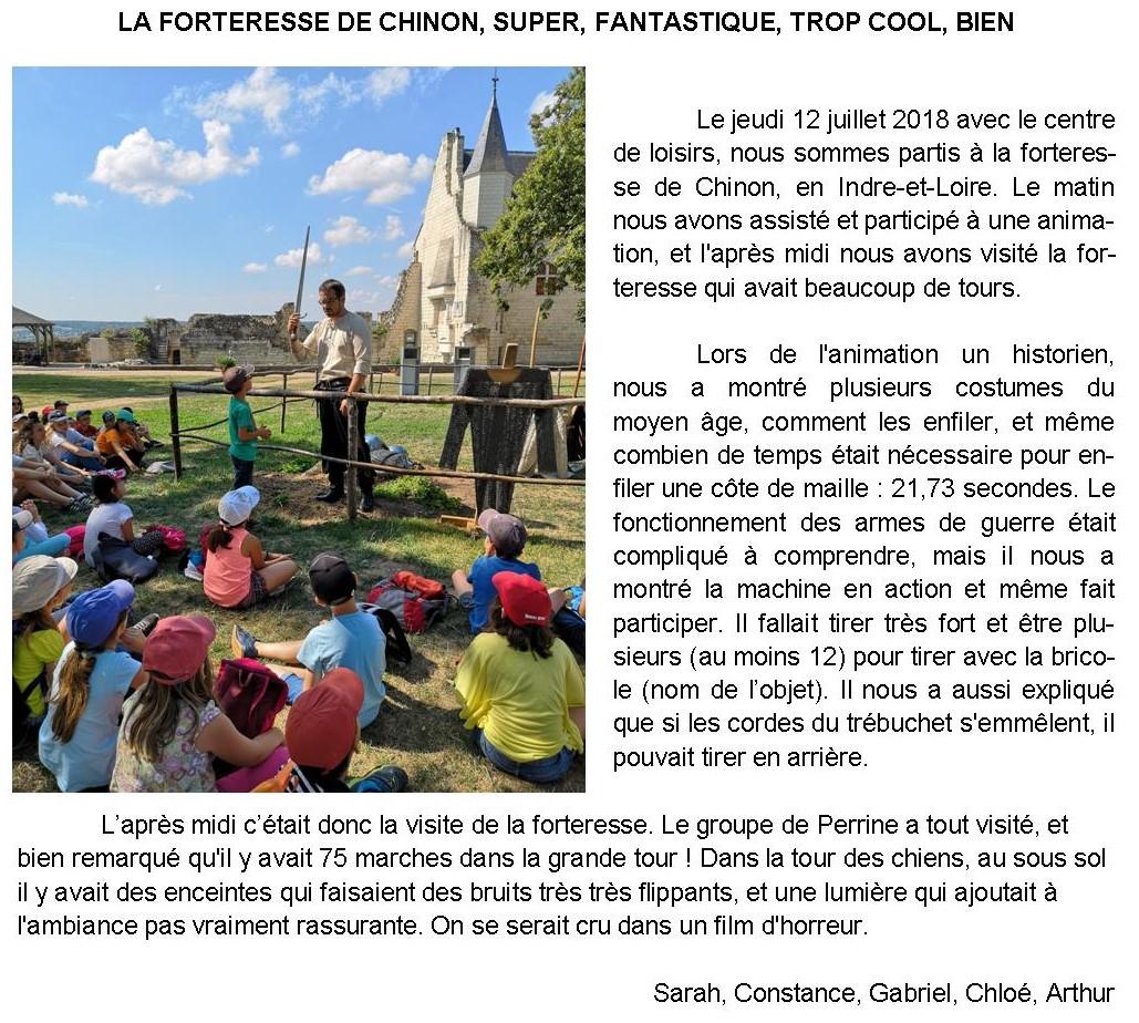 Sortie à la forteresse de Chinon