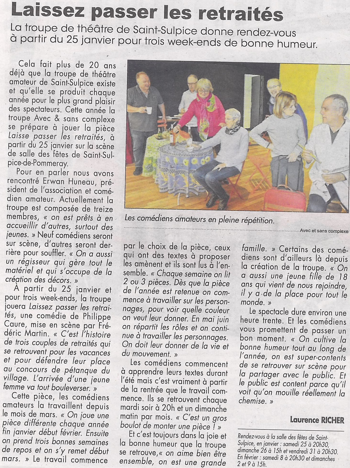 Article La Renaissance du 17/01/2020